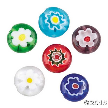- Round Flower Millefiori Beads - 10mm