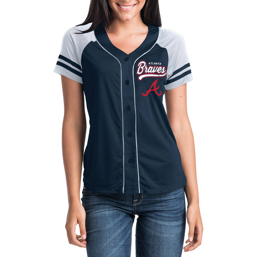 MLB Atlanta Braves Women's Short Sleeve Button Down Mesh Jersey