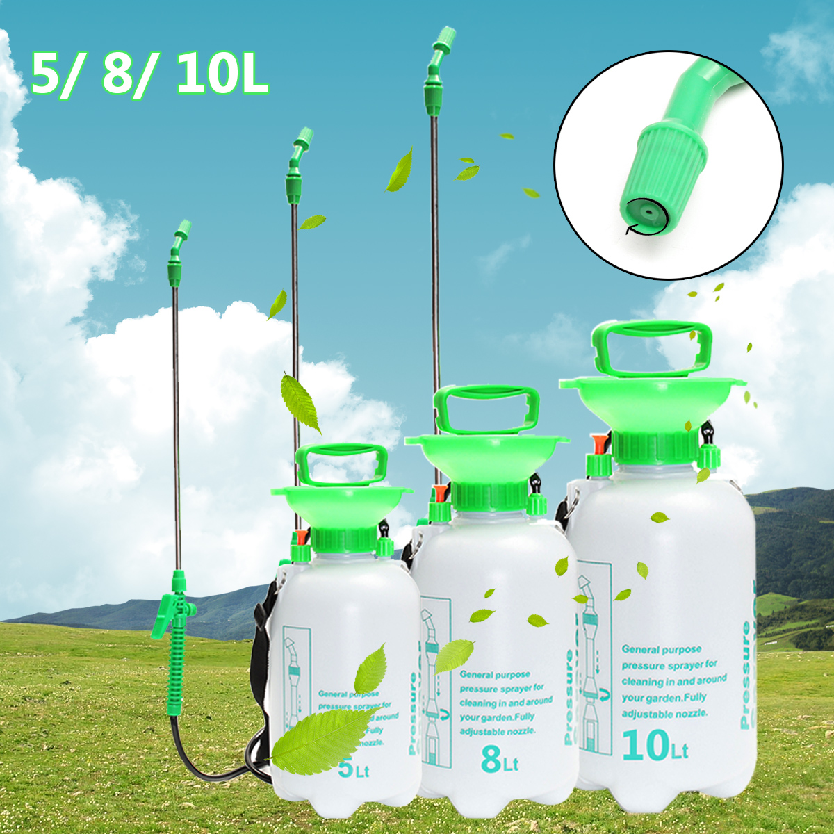 5/10L Garden Water Pressure Sprayer Manual Bottle Knapsack Watering Equipment Weed Killer Plants