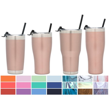 Simple Modern 20oz Cruiser Tumbler with Straw & Closing Lid - Vacuum Insulated Double Wall Thermal Swell Cup - Travel Mug 18/8 Stainless Steel Thermos - Rose Gold (Tumblers With Lids And Straws)