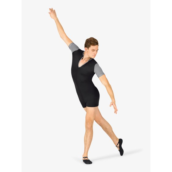 47adf529e Black/Black color is solid black and does not feature contrast trim or  colorblock design. Mens Colorblock Dance Short Sleeve Shorty Unitard