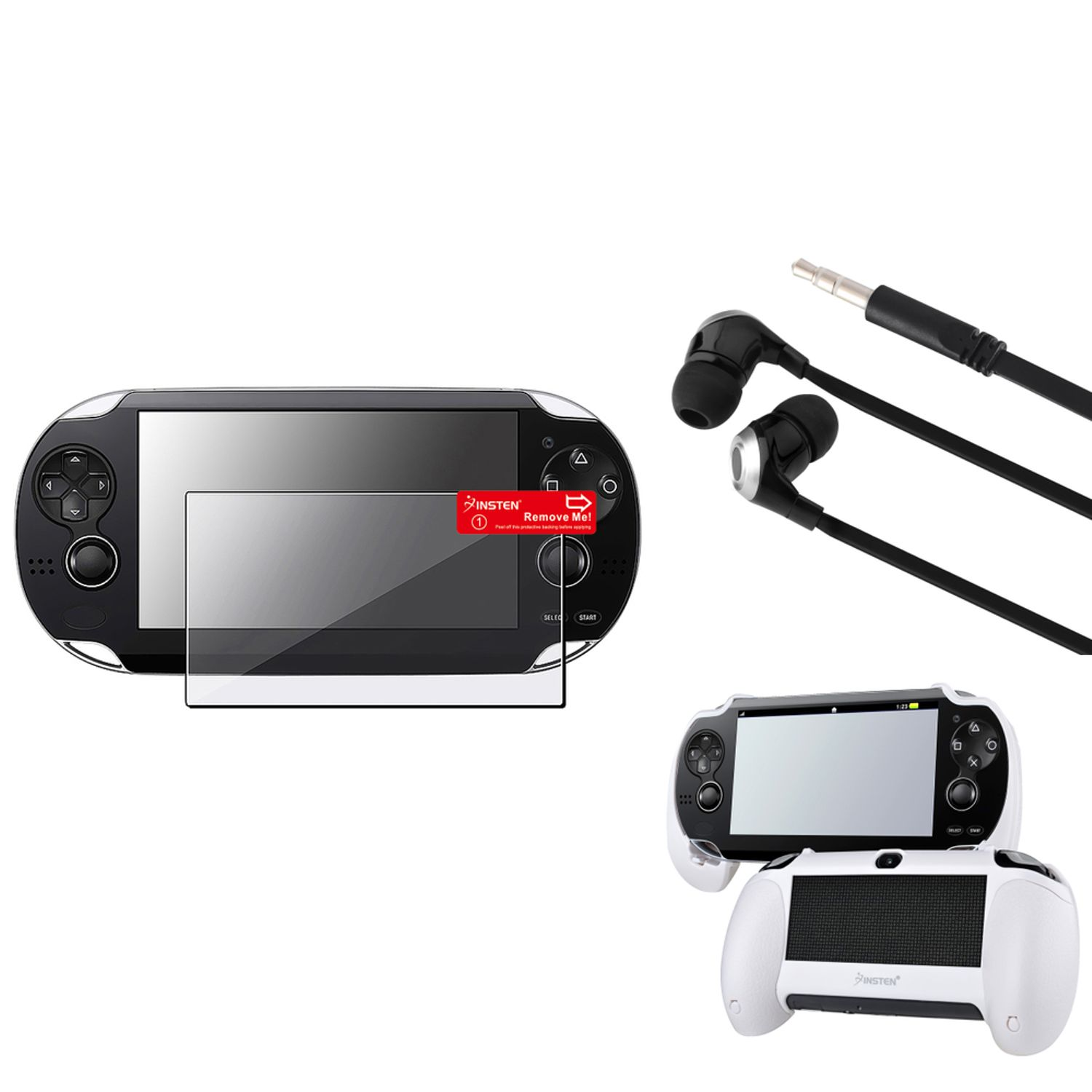 Insten White Hand Grip+Clear Film Protector+Black/Silver Headset For Sony PS Vita PSV