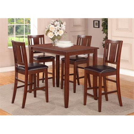 3 -Piece Buckland Counter Height Table 30 in. x48 in. & 2 Stools with Faux Leather seat in Mahogany Finish