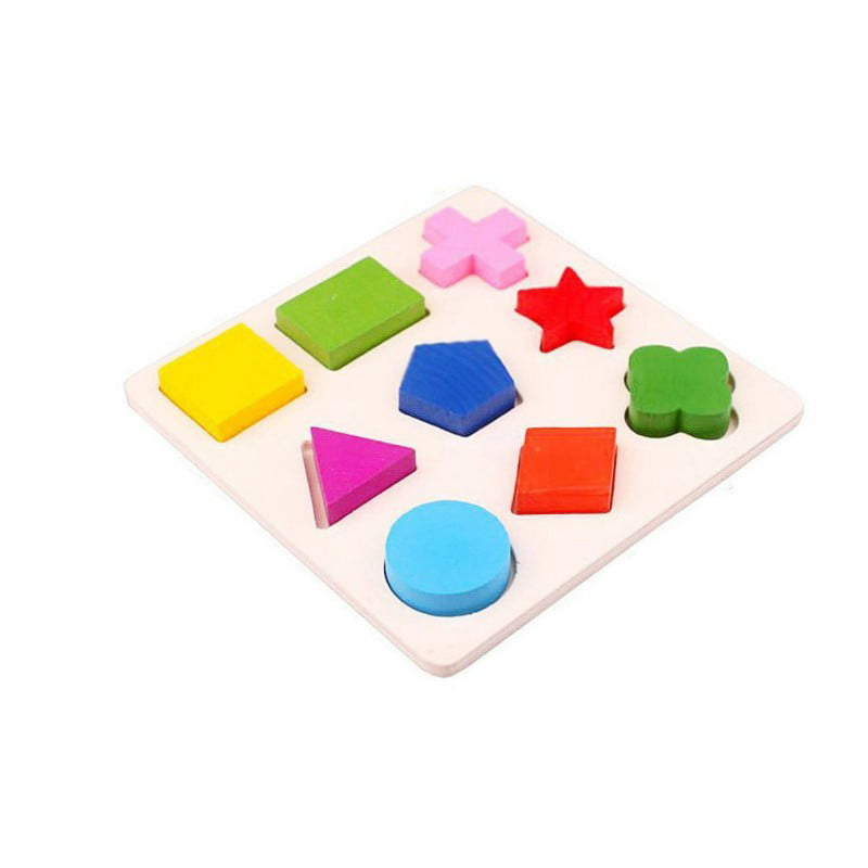 Kids Baby Montessori Early Educational Wooden Learning Toy Geometry Block Puzzle