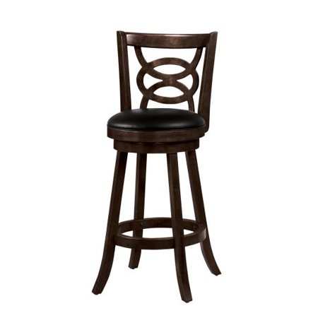 Wondrous Simple Relax Swivel Wood Dining Chairs 29H Bar Stool Set Of 2 Espresso With Upholstered Seat Alphanode Cool Chair Designs And Ideas Alphanodeonline