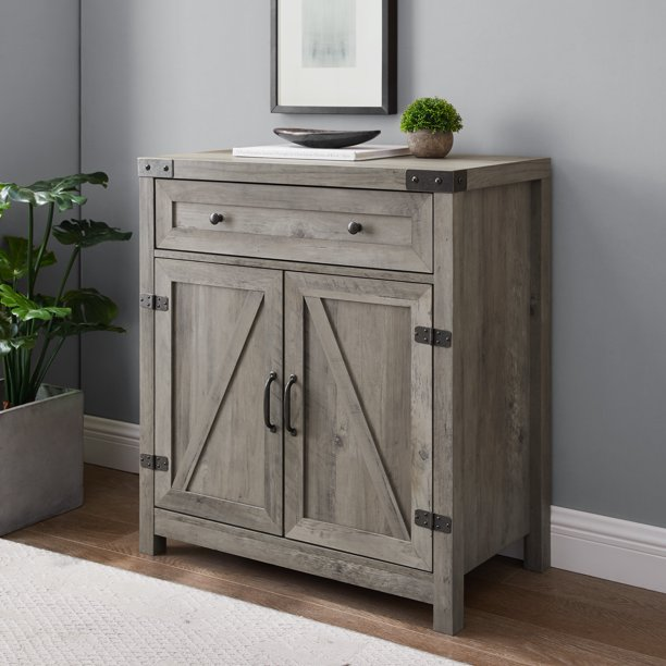 Manor Park Farmhouse Grey Wash Barn Door Accent Cabinet