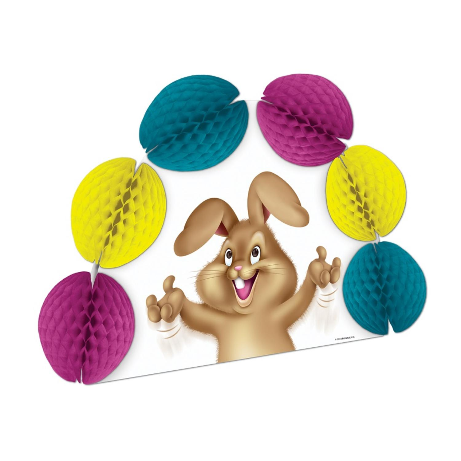 """Club Pack of 12 Easter Bunny Tissue Pop-Over Honeycomb Centerpiece Party Decorations 10"""""""