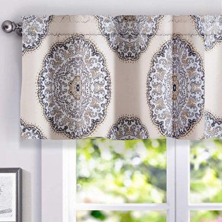 DriftAway Emma Medallion Pattern Lined Thermal Insulated Energy Saving Window Curtain Valance for Living Room Bedroom Kitchen, 2 Layer, Rod Pocket, 52