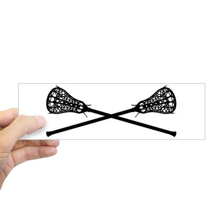 (CafePress - Crossed Lacrosse Sticks Bumper Sticker - 10