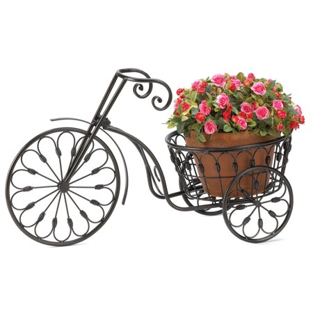 Garden Planters Large, Plant Stand On Wheels, Contemporary Bicycle Plant Stand ()