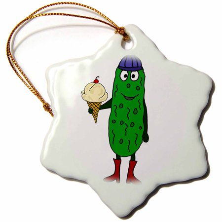 3dRose Funny Cute Pickle Eating Ice Cream Cone - Snowflake Ornament, 3-inch