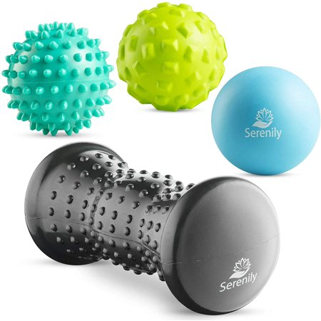 Serenily Foot Massage Roller and Massage Balls Set. Hot & Cold Foot Massager for Muscle Soreness Relief. Spiky Massage Ball for Sore Muscles and Myofascial Release. Best Foot Massager - 4 Pc Set Sore Muscle Gift Set