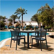 Siesta ISP1641S-DVR Ares Resin Square Dining Set with 4 Chairs, Dove Gray