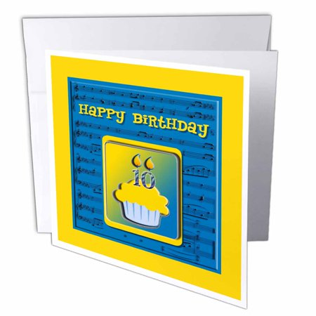 3dRose 10th Birthday Cupcake On Music Notes Blue And Yellow Greeting Card 6 X Inches Single