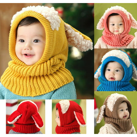 - Cute Baby Toddler Winter Beanie Warm Hat Hooded Scarf Earflap Knitted Cap Kids