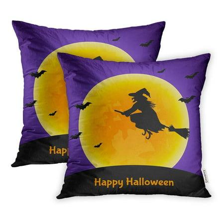 CMFUN Orange Appalling Halloween Witch Bats Moon Party Autumn Awful Black Boo Pillowcase Cushion Cover 20x20 inch, Set of 2