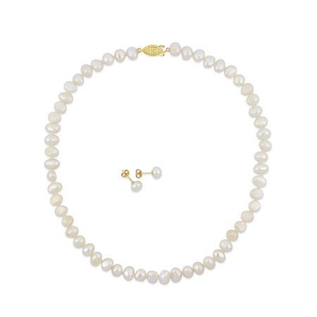 Miabella 5-7.5mm Freshwater Cultured and Keshi Pearl Goldtone 2-Piece Earrings and Necklace (Freshwater Keshi Pearl Earrings)
