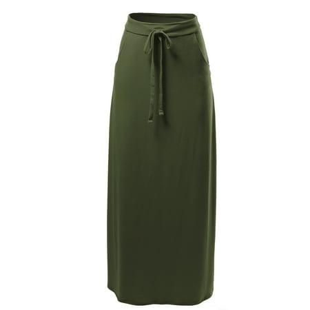 A2Y Women's Drawstring Waist Side Pockets Rayon Maxi Skirt Dark Olive L Drift Side Skirts