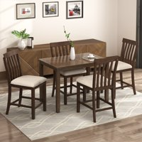 CLEARANCE! Dining Set Kitchen Table with 4 Piece Chairs, Dinette Set Vintage Wood Rectangular Breakfast Table with Wood Legs & Black Finish Frame, for an Apartment Breakfast, Black, S0025