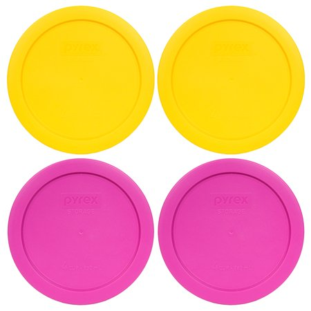 Pyrex Replacement Lid 7201-PC Plastic Covers (4-Pack) in Yellow & Pink for Pyrex 7201 4-Cup Bowl (Sold Separately)