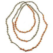 Faire Collection Colorblock Rope Necklace, Creamsicle & Gray