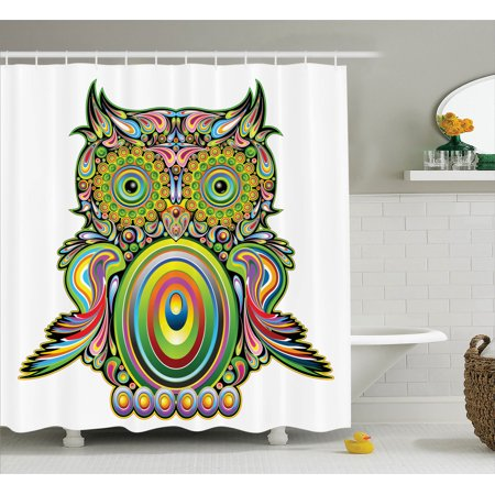 Owls Home Decor Shower Curtain Set Ornate Colorful Owl With Ethnic Elements