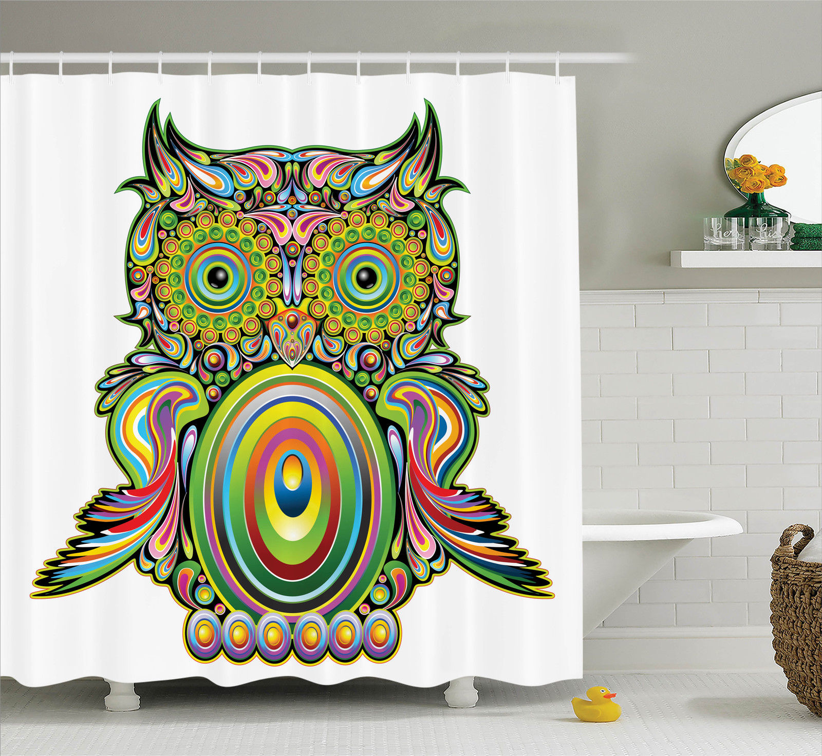 Owls Home Decor Shower Curtain Set, Ornate Colorful Owl With Ethnic Elements Legend Eye Feather Of Universe Psychedelic Artwork, Bathroom Accessories, 69W X 70L Inches, By Ambesonne