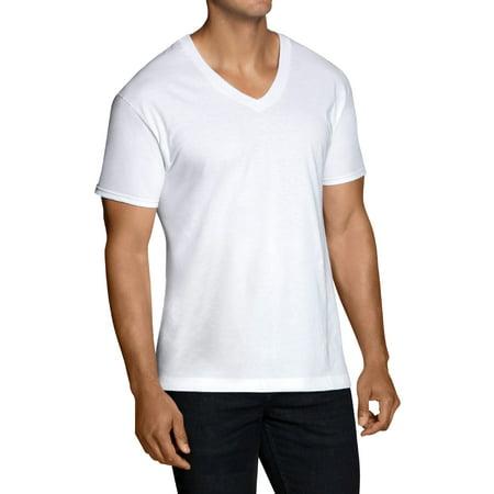 Big Men's Dual Defense White V-Neck T-Shirts Extended Sizes, 5 Pack (Mens Performance V-neck Color)