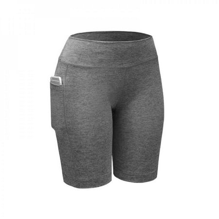 [Big Save!]Base Quick Dry Women Leggings Fitness Workout Shorts Outdoor Women Elastic Breathable Skinny Shorts With Pocket Gray XL thumbnail