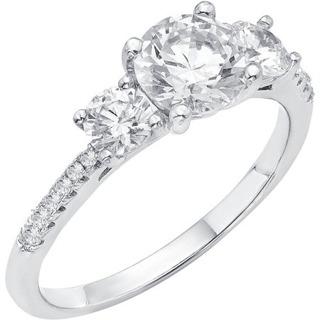 Crystal Silver Rings - 5/8 Carat T.G.W. Australian Crystal and CZ Sterling Silver Engagement Ring