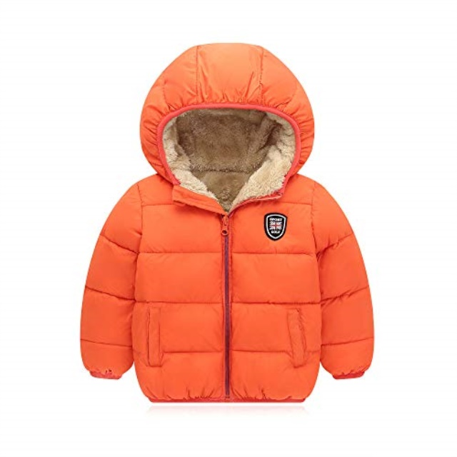 Bigzzia Baby Boys Girls Winter Coat Warm Kids Toddlers Infants Simple Jacket Outwear Hoodie Autumn for 2-7 Y