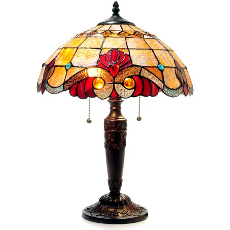 Chloe Lighting Shelly Tiffany-Style 2-Light Victorian Table Lamp 14.5