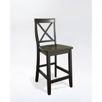 """Pemberly Row 24"""" X-Back Counter Stool in Black (Set of 2)"""