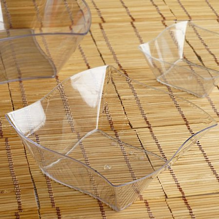 BalsaCircle 12 pcs 16 oz. Clear Wave Design Plastic Square Disposable Bowls