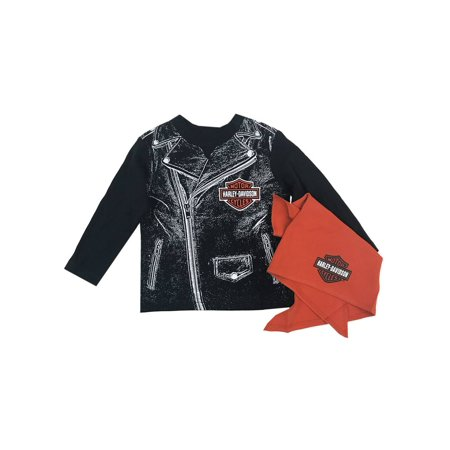 Harley-Davidson Baby Boys' Biker Dude Tee & Doo Rag Newborn Starter Kit 2553715, Harley Davidson