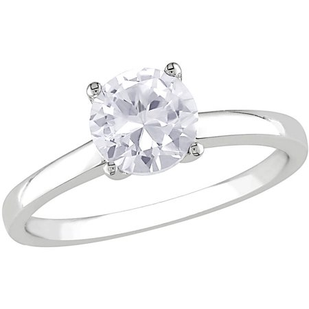 1-1/4 Carat T.G.W. Created White Sapphire 10kt White Gold Solitaire Engagement Ring