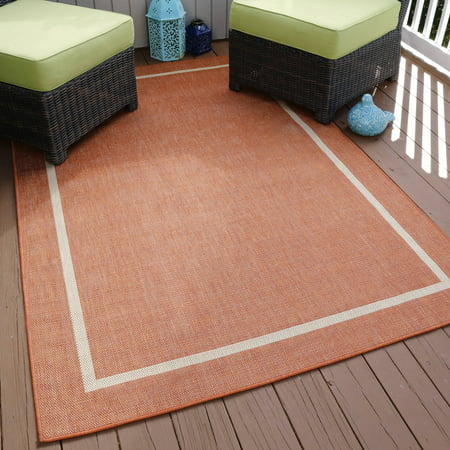 Somerset Home Border Indoor Outdoor Area Rug Orange 5 X