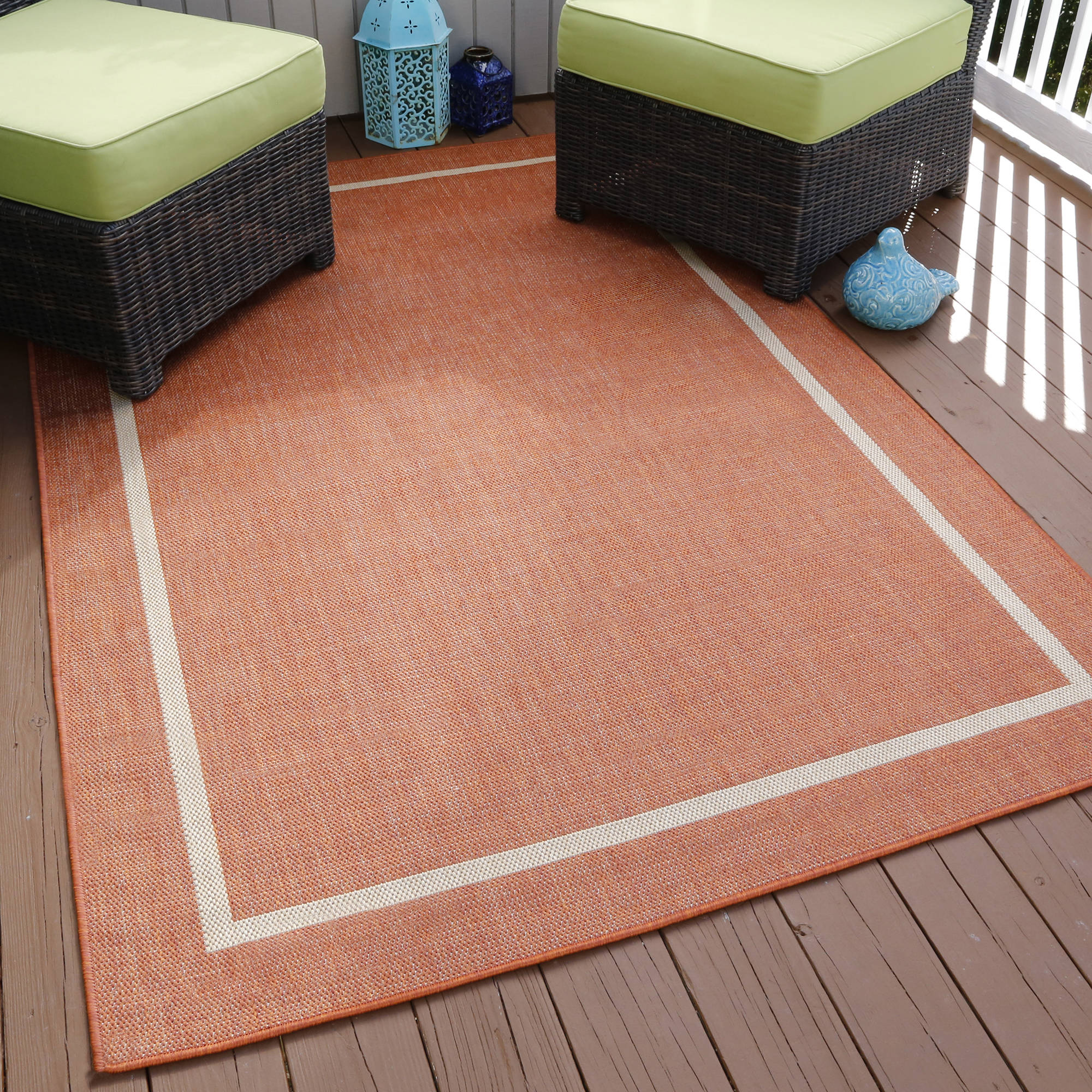 Somerset Home Border Indoor/Outdoor Area Rug, Orange, 5' x 7'7""