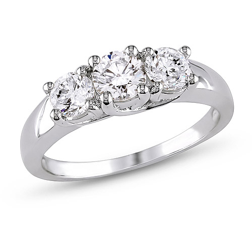 1 Carat T.W. Diamond Three-Stone Engagement Ring in 14kt White Gold, IGL Certified
