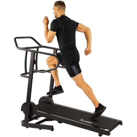 Sunny Health & Fitness Manual Treadmill with 16 Levels of Magnetic Resistance, 300 LB Max Weight and Dual Flywheels - Fixed Incline