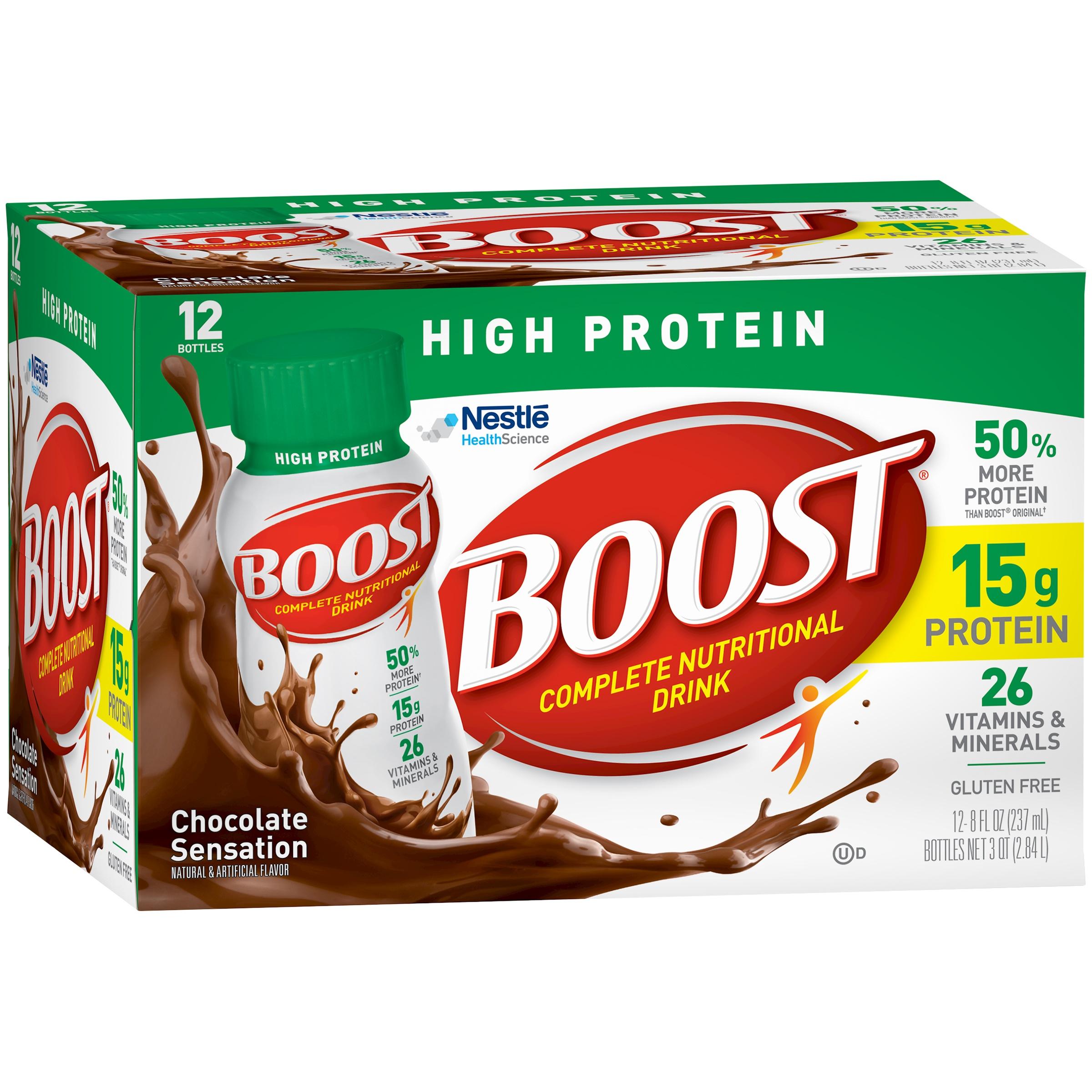BOOST HIGH PROTEIN Complete Nutritional Drink,  Chocolate Sensation, 8 fl oz Bottle, 12 Pack