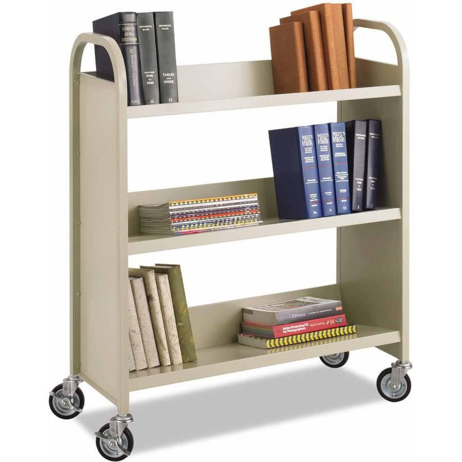 "Safco Steel Book Cart, Three-Shelf, 36""W x 14-1/2""D x 43-1/2""H, Sand"