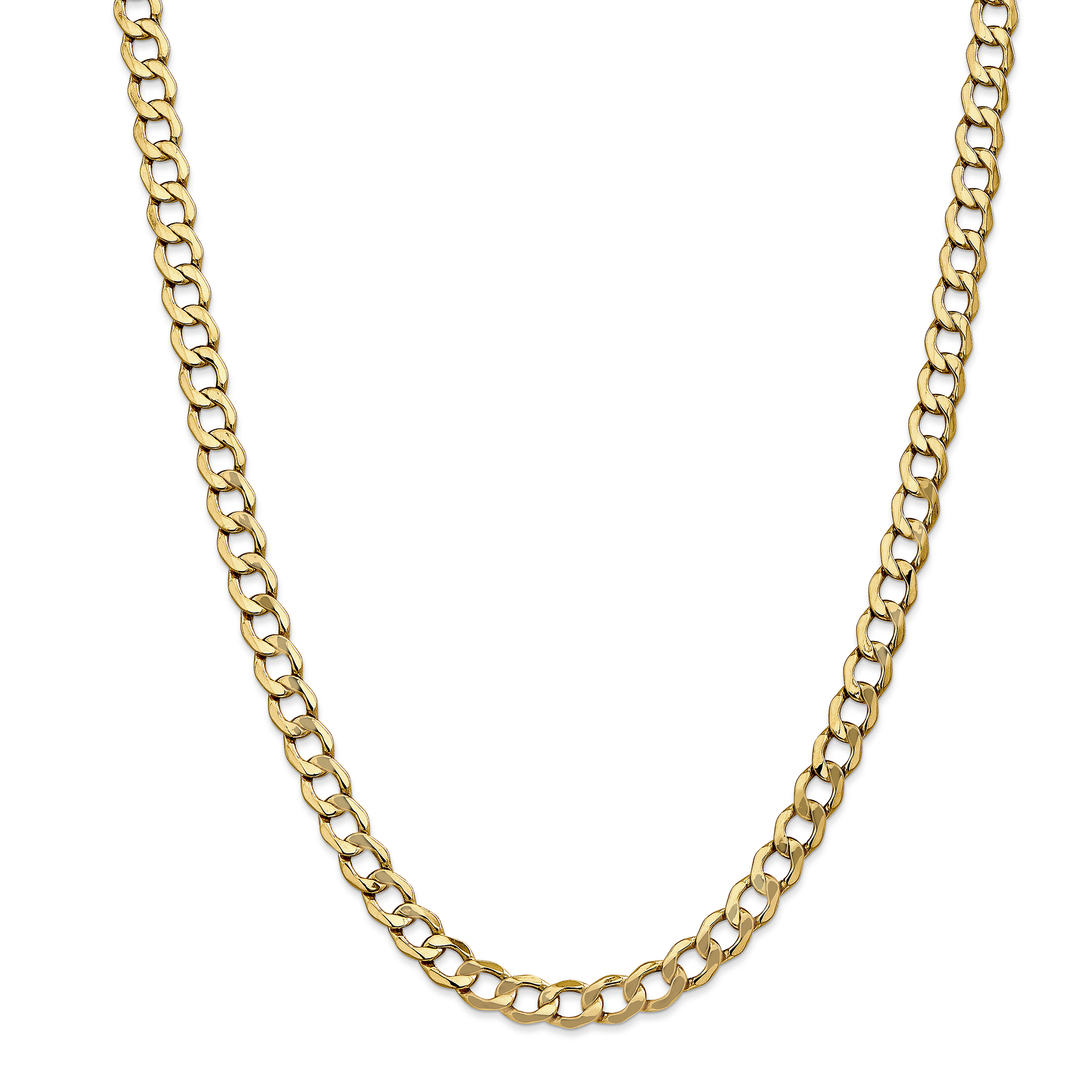 14k Yellow Gold 7mm Curb Cuban Link Chain Necklace 18 Inch Pendant Charm