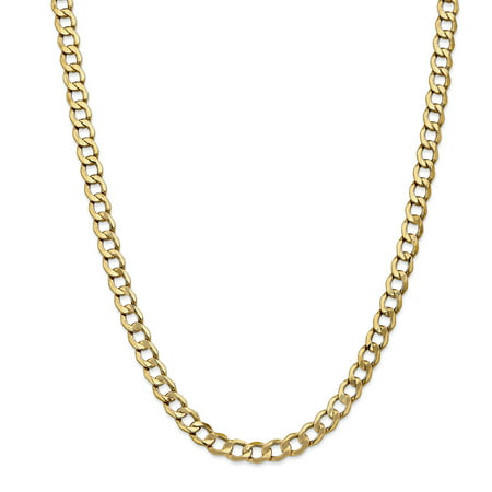 14k Yellow Gold 7mm Curb Cuban Link Chain Necklace 18 Inch Pendant - Gold Coin Necklace