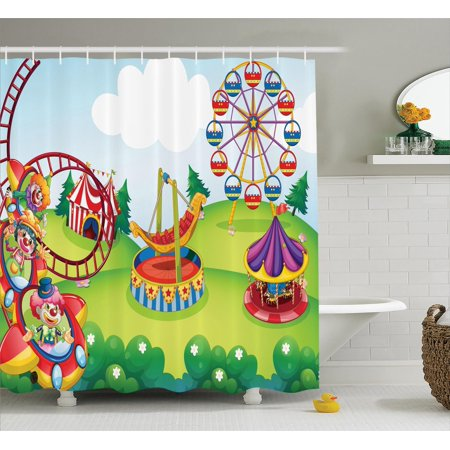 Circus Decor Shower Curtain Set, Circus And Theme Park Design Carousel Amusement Excitement Trees, Bathroom Accessories, 69W X 70L Inches, By - Circus Themed Accessories