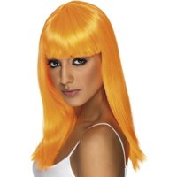 Long Straight Neon Orange Glamourama 80's Punk Rock Adult Costume Wig