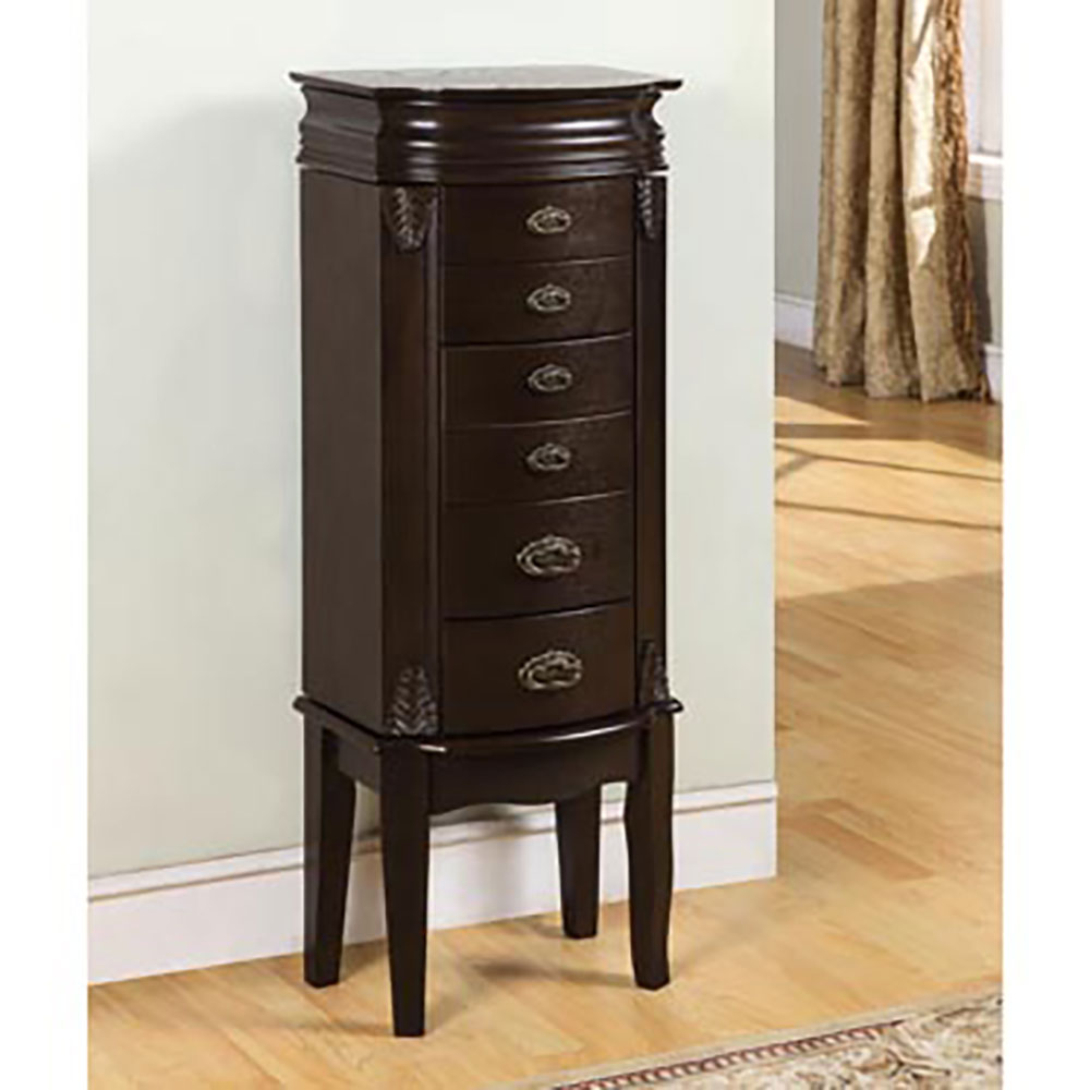 Powell 6 Drawer Standing Elegant Dark Espresso Jewelry Box Storage Armoire