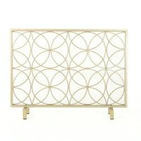 Noble House Emmilou Iron Single Panel Fireplace Screen, Gold
