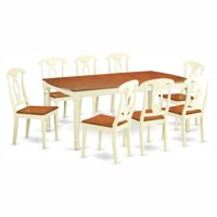 East West Furniture Dover 9 Piece Extension Rectangular Dining Table Set with Kenley Wooden Seat Chairs