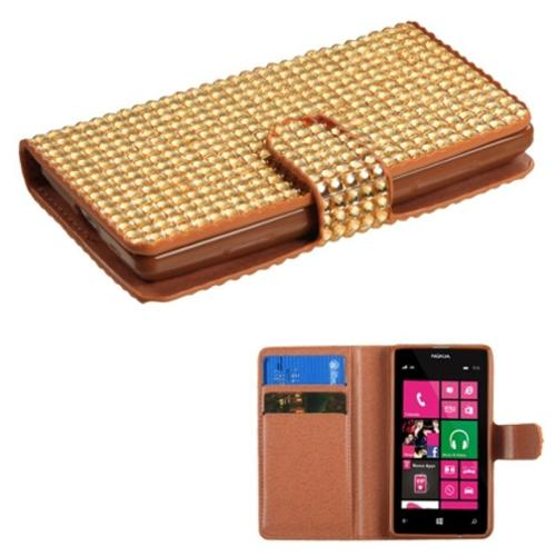 Insten Gold Diamonds Crystal Bling Book-Style MyJacket Card Wallet Case 824 For NOKIA 521 Lumia 521